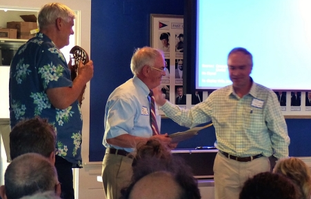 Denny receiving the 2017 Ansel B. Chaplin award from Peter Johnson  and Mark Robinson